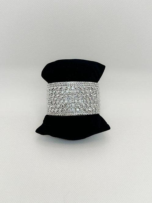 Bracciale fascia cristalli bianco