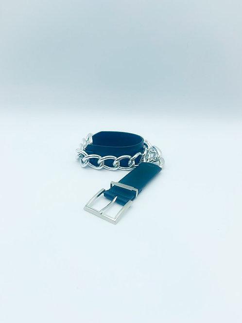 Cintura a catena nera con fibbia argentata