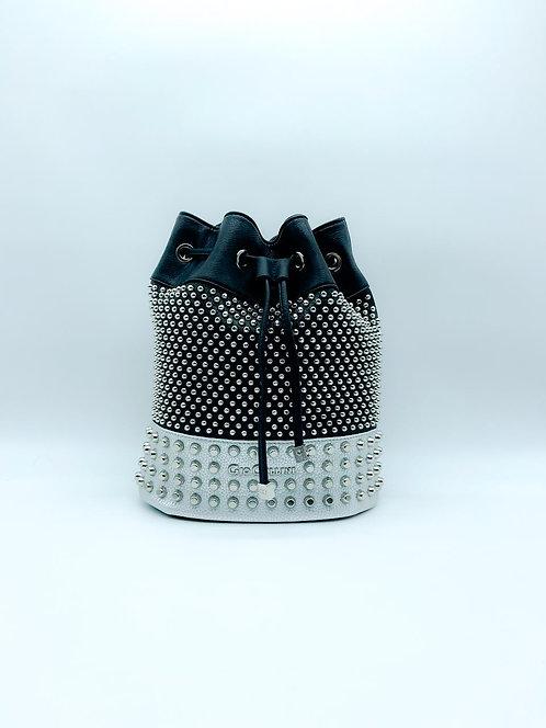 Secchiello di Gio Cellini con borchie bicolore nero e grigio