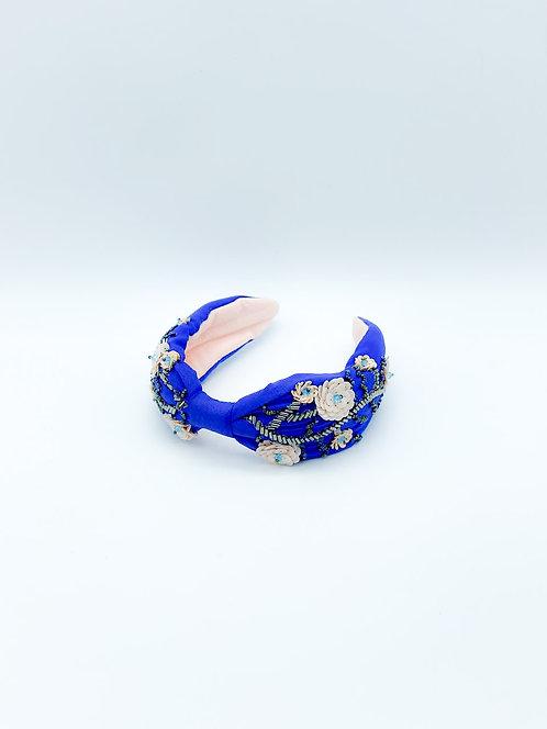 Cerchietto per capelli con stoffa ricamato a mano blu