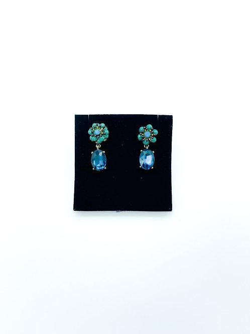 Orecchini pendenti a fiore con pietre color verde petrolio