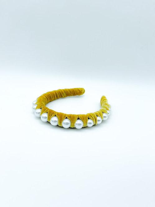 Cerchietto per capelli con perle giallo