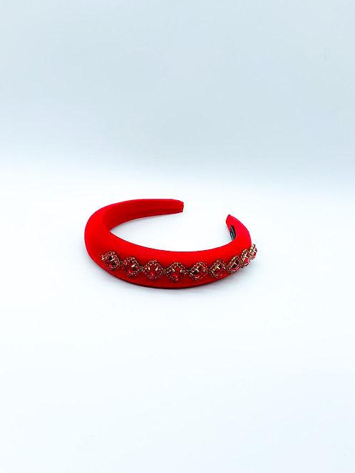 Cerchietto per capelli con pietre e strass laterali rosso