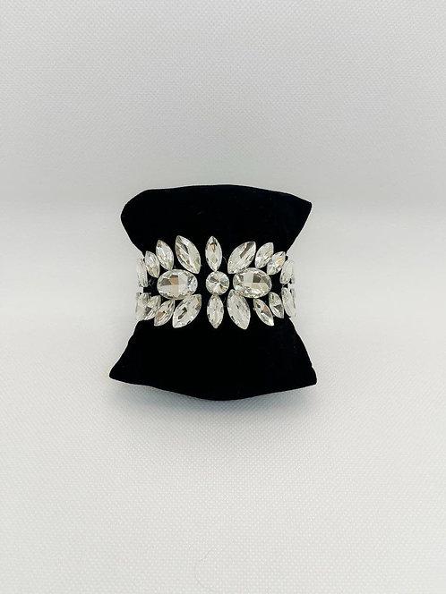 Bracciale cristalli fiore bianco