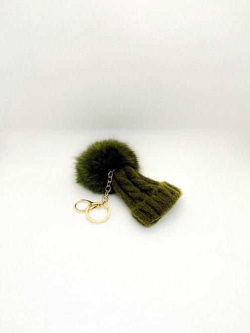 Portachiavi berretto con PonPon verde militare