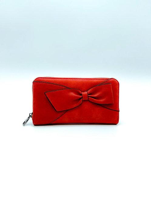 Portafoglio donna color rosso con fiocco