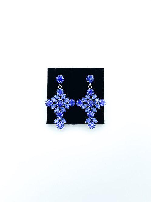 Orecchini cristalli croce blu