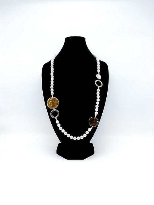 Collana lunga con perle bianco/oro