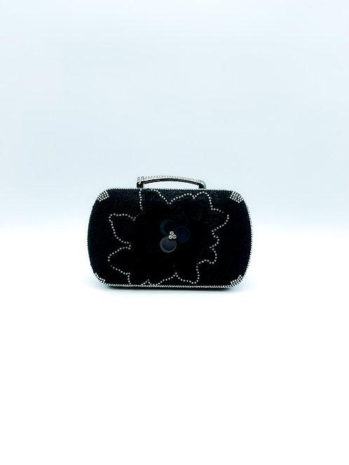 Pochette da sera con fiore nero