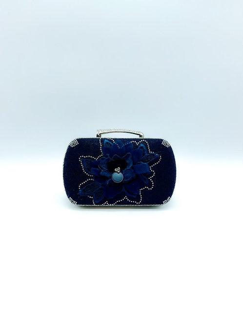 Pochette da sera con fiore blu