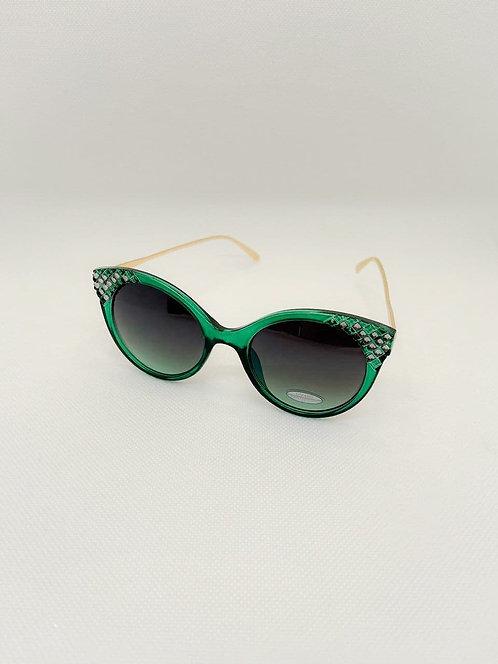 Occhiali sole effetto strass verde
