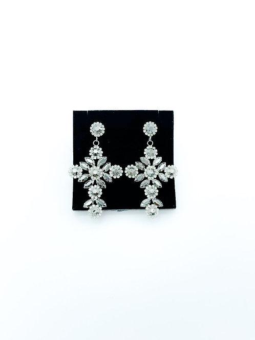 Orecchini cristalli croce grigio