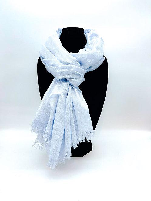Sciarpa con tulle 100% viscosa color azzurro