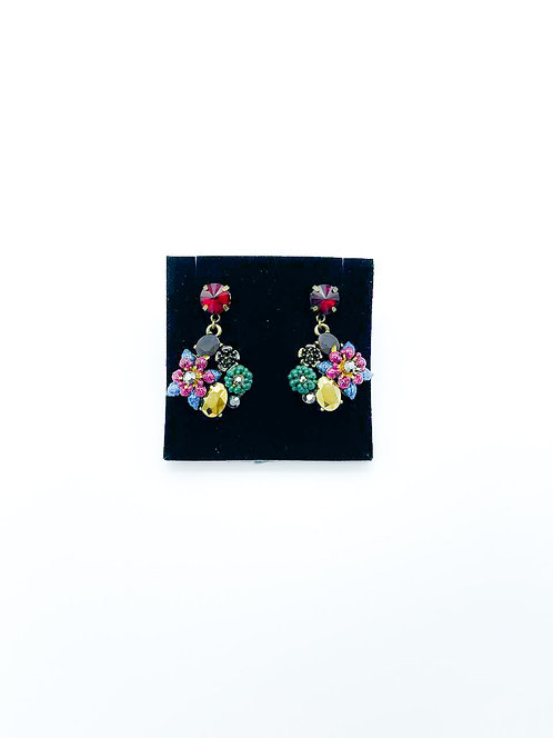 Orecchini pendenti a fiore con pietre multicolor