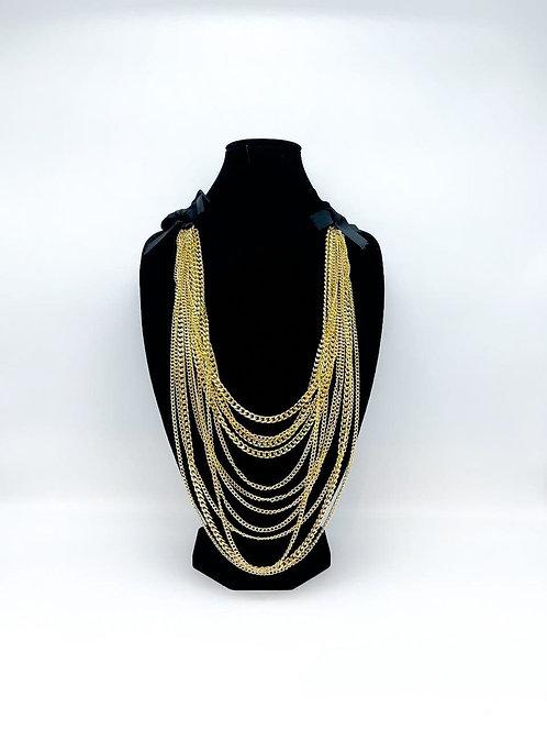 Collana lunga multi-filo a catena oro