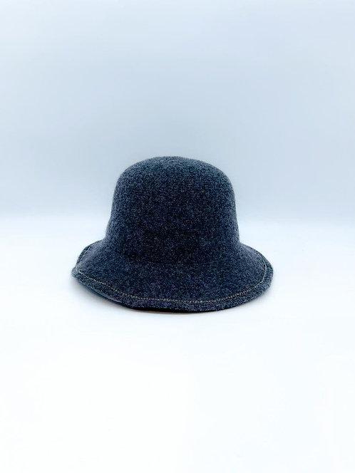 Cappello cloche con strass grigio scuro