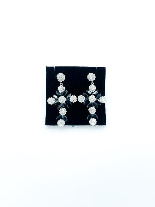 Orecchini cristalli croce bianco e nero