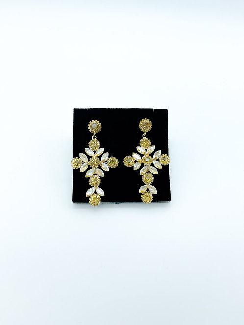 Orecchini cristalli croce gold