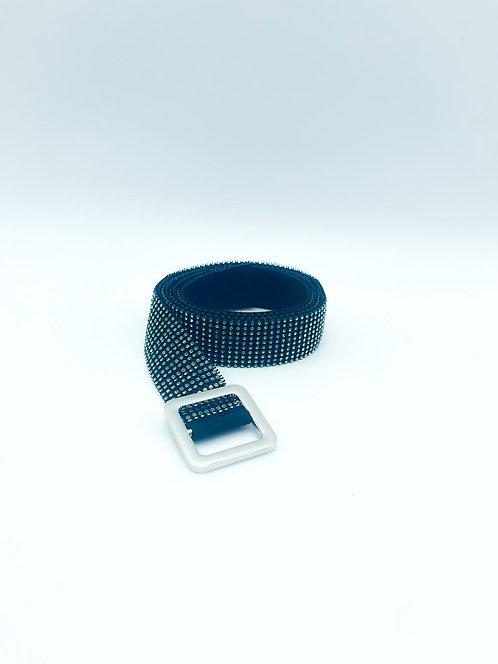 Cintura nera con strass