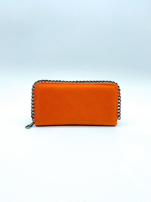 Portafoglio donna con decorazione catena ai bordi color arancio
