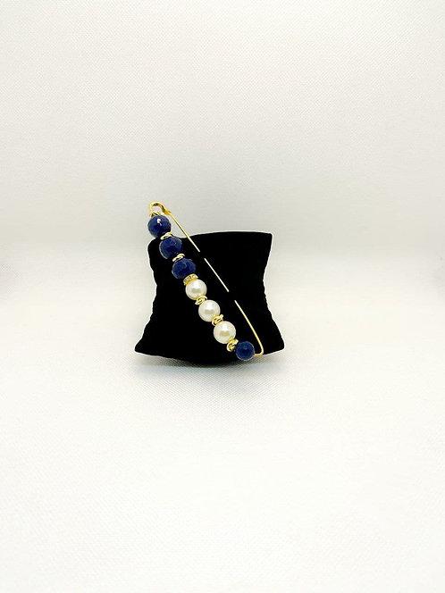 Spilla grande con perle e pietre blu