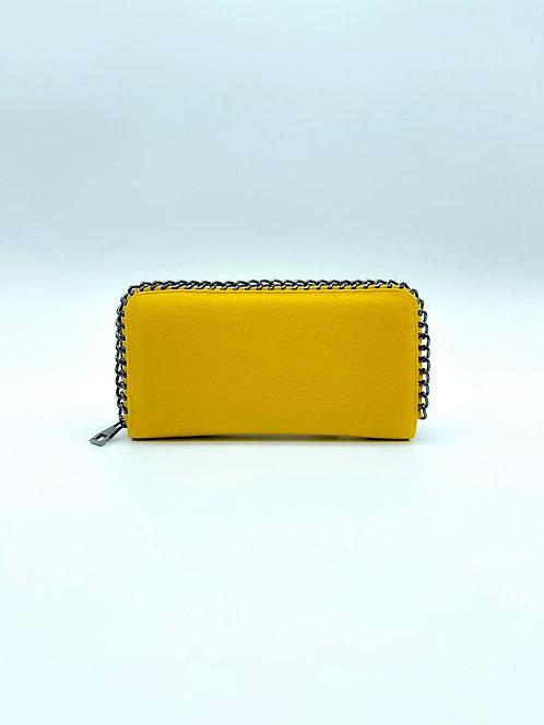 Portafoglio donna con decorazione catena ai bordi color giallo