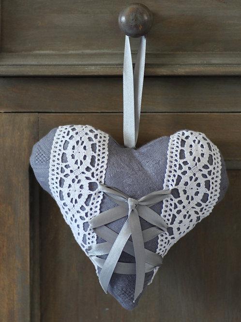 Coeur en tissu damassé gris