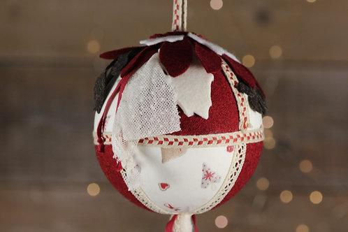Boule de Noël rouge Bordeaux