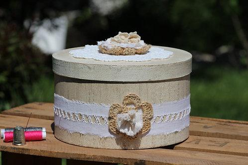 Boite effet bois et décorée Coton Chanvre