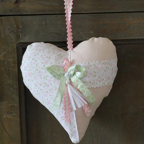 Coeur en tissu rose Rubans