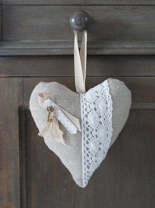 Coeur en tissu Lin et clé