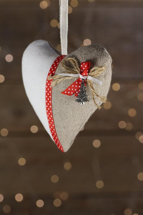 Coeur de Noël lin