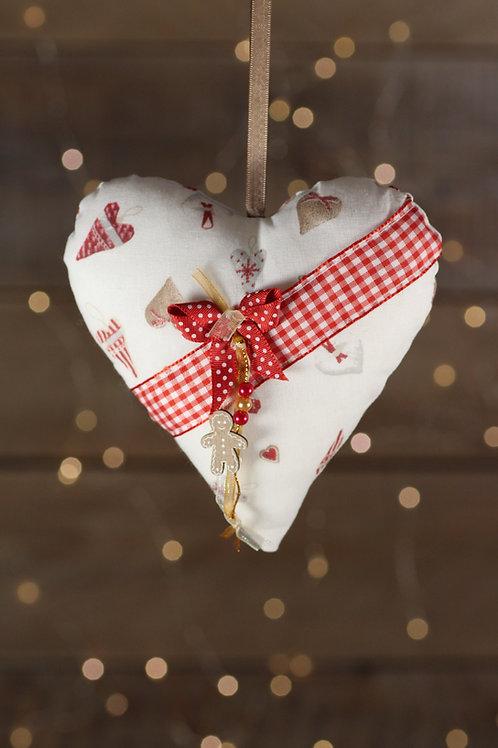 Coeur de Noël  ruban vichy