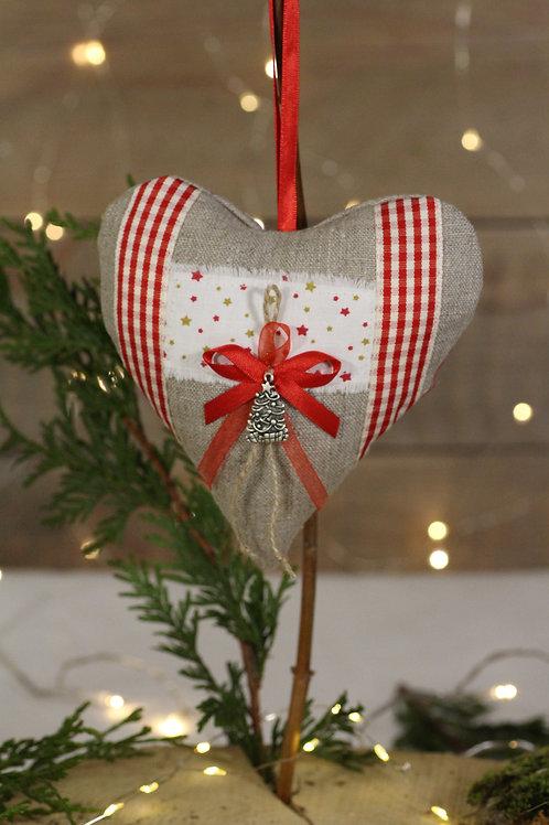 Coeur de Noël en Lin Etoiles