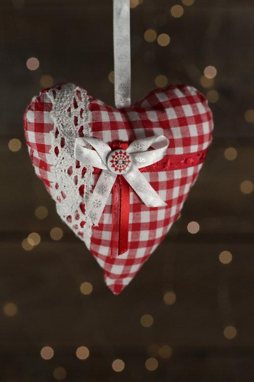 Coeur de Noël vichy rouge