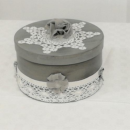Boite ronde gris et blanc