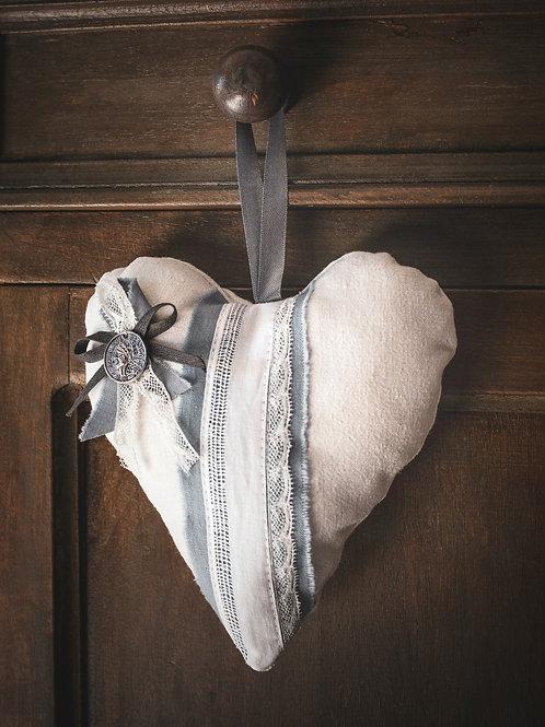 Coeur en  coton blanc