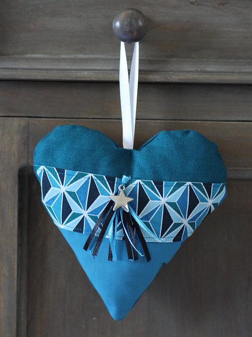 Coeur en tissu géométrique