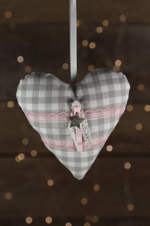 Coeur de Noël vichy gris