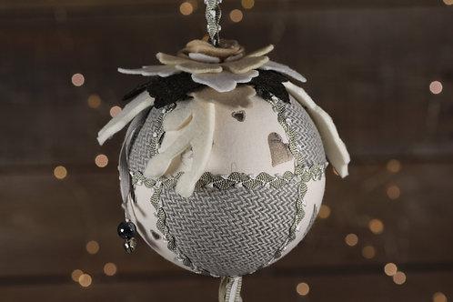 Boule de Noël gris et lin