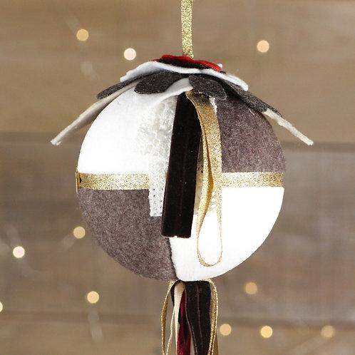 Boule de Noël ruban doré