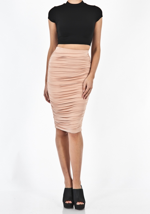 MIDI GATHERED SKIRT