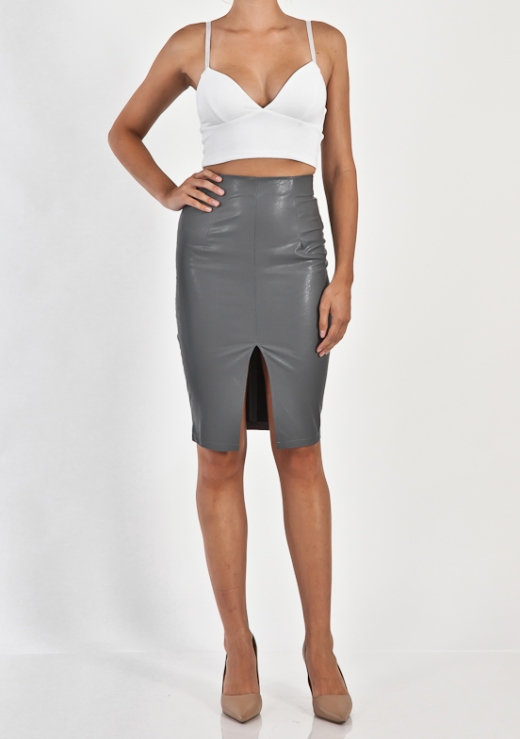 PU PENCIL SPLIT SKIRT