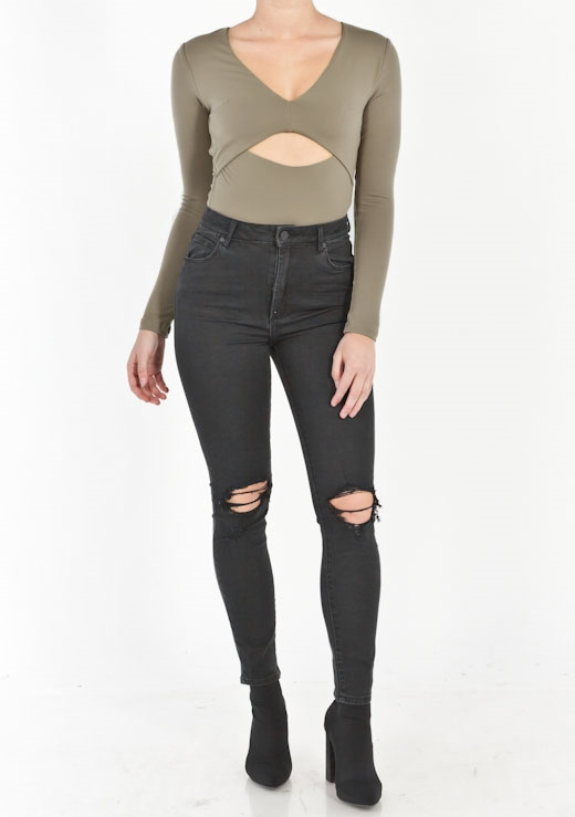 CUT OUT LONG SLEEVES BODYSUIT