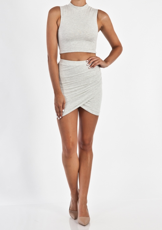 GATHER SIDE MINI SKIRT
