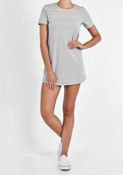 MESH STRIPE T-SHIRT DRESS