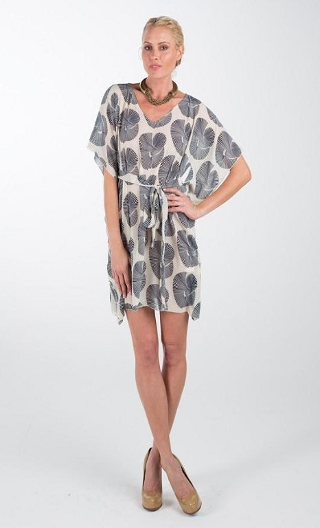 Short Kaftan Navy Fan Print Dress