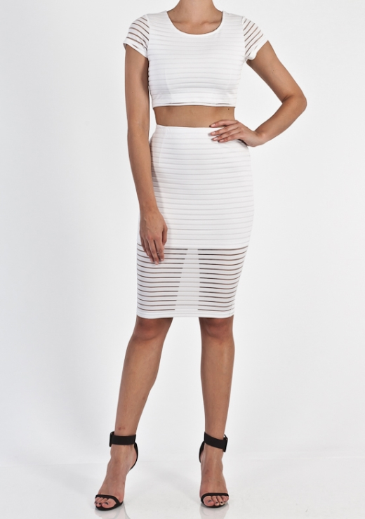 STRIP MESH SKIRT