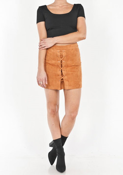 SUEDE ROPE FRONT SKIRT