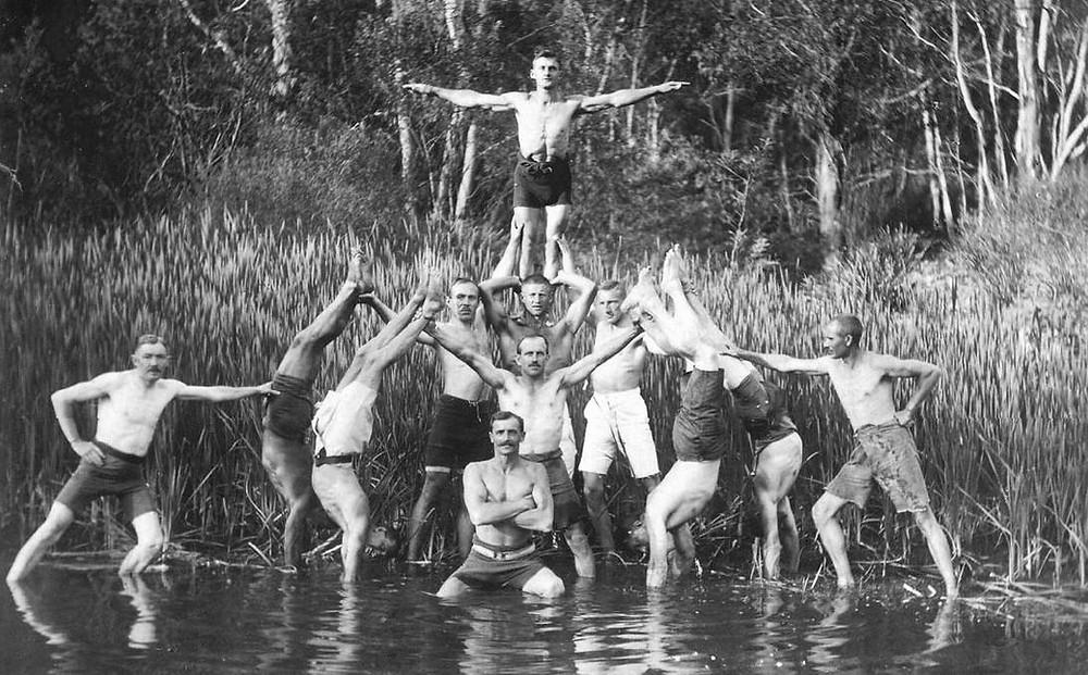 German Internees on the Wingecarribee River Berrima during WWI